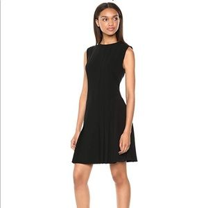 Theory Pleated Day Dress in Black Admiral Crepe